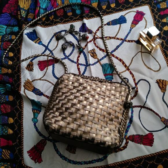 Vintage Handbags - Elka Gold Crossbody Bag Woven Braided Vintage